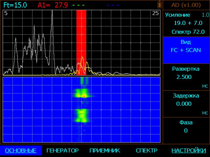 АЧХ в акустическом дефектоскопе АД-60К